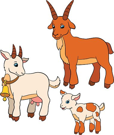 Cartoon Farm Animals For Kids. Mother Goat Looks At Her Baby.. Royalty Free  Cliparts, Vectors, And Stock Illustration. Image 59773453.