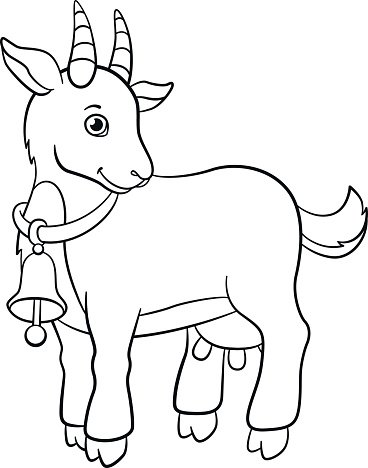 Coloring Farm Little Cute Goat Premium Clipart