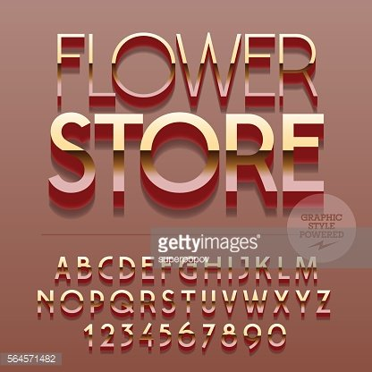 Set of letters, numbers and symbols with text Flower store