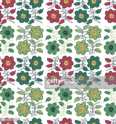 Seamless pattern flower in ethnic style on a white background.