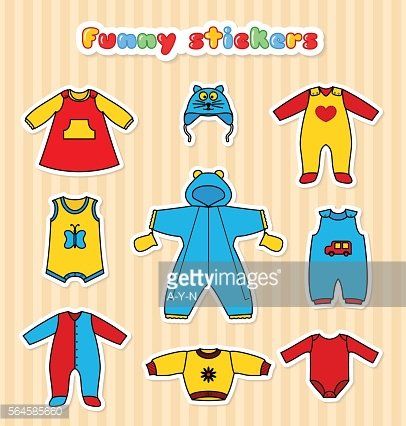 Set of cute little baby clothess stickers
