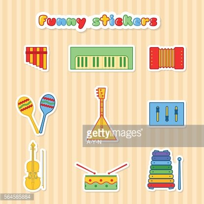 Set of fany vector musical instrumen stickers.