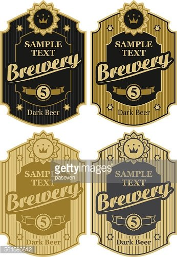 set of vector labels for beer and brawary