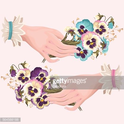 Illustration of hand with pansies