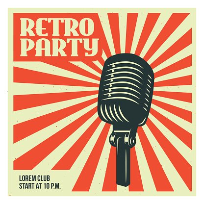 retro party poster template with old vector vintage premium clipart