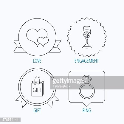 Love heart, gift bag and wedding ring icons.