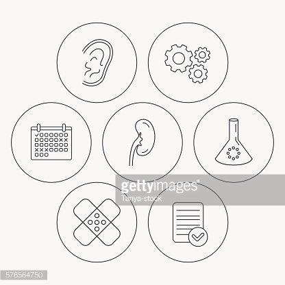 Lab bulb, medical plaster and ear icons.