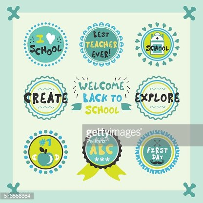 Welcome Back To School blue circle emblems and labels set