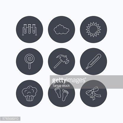 Footprint, lab bulbs and thermometer icons.