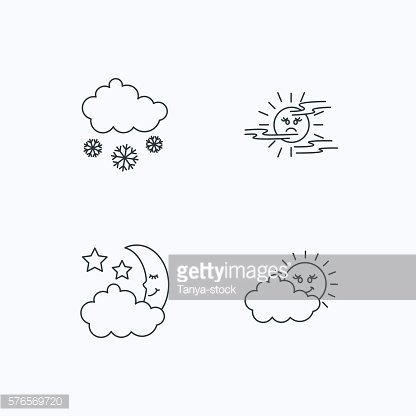 Weather, mist and snow icons.