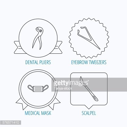 Medical mask, scalpel and dental pliers icons.
