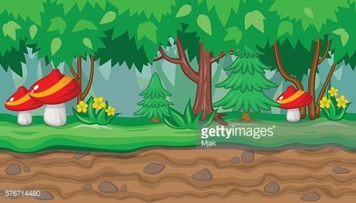 Seamless summer forest landscape red mushrooms firs for game design