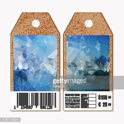 Tags on both sides, cardboard sale labels with barcode. Polygonal