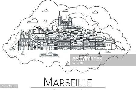 Vector line art Marseille, France, travel landmarks and architecture icon