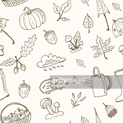 cute hand drawn autumn seamless pattern