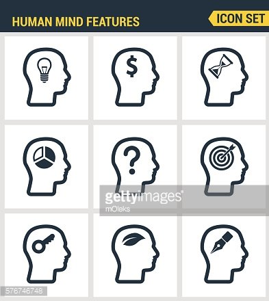 Icons set premium quality of human mind features, characters profile