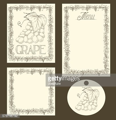 Grape Menu Pages, Card and Tag Design Set