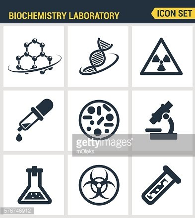 Icons set premium quality of biochemistry research, biology laboratory experiment