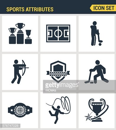 Icons set premium quality of sports attributes, fans support, club