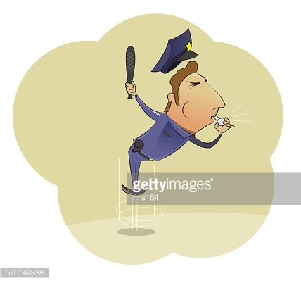 Vector cartoon image of angry police officer in uniform whistling