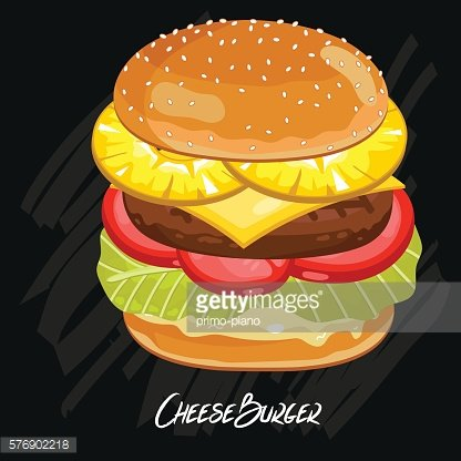 Burger vector isolated on black background