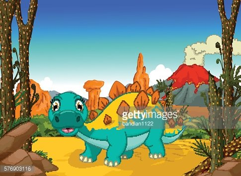 funny stegosaurus cartoon with volcano landscape background