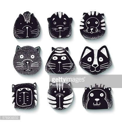 Cats set of cute doodle. Kids characters animals.