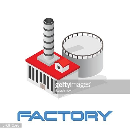 Vector isometric modern industrial and manufacturing factory building icon