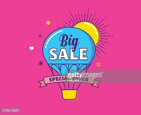 Big sale - colorful banner, hot air balloon and sun