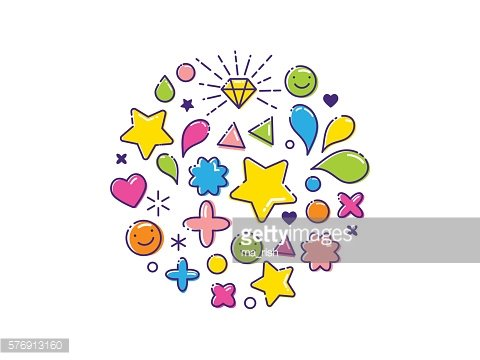 Outline colorful background with happy icons, stars, hearts, diamond