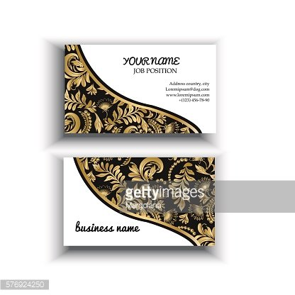 gold and black background Floral templates For business card.