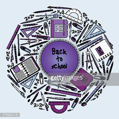 Back to School Title Texts with Items in a Circle