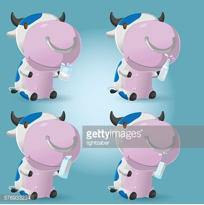 Cow Cartoon Hold Milk Product Vector