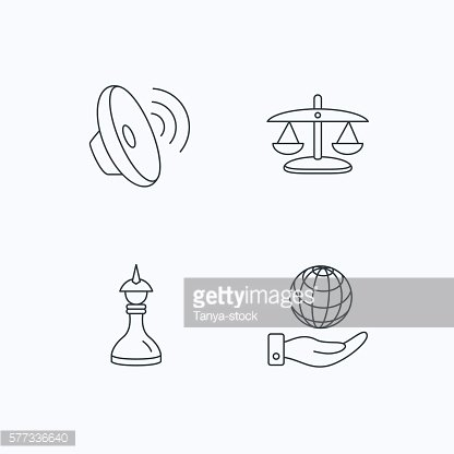 Strategy, sound and scales of justice icons.