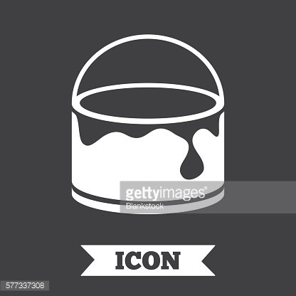 Bucket of paint icon. Painting works sign.