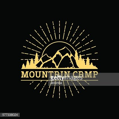 Badge with mountains in vintage style.