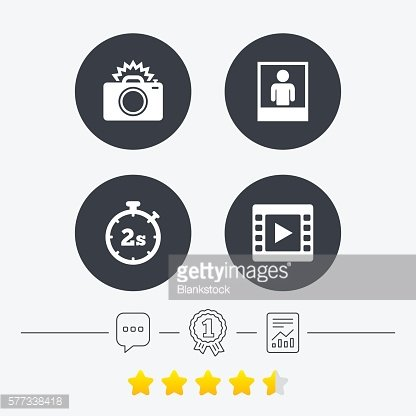 Photo camera icon. Flash light and video frame.