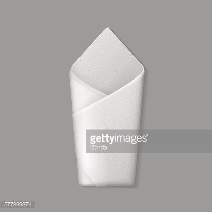 Vector White Folded Envelope Napkin Top View Isolated