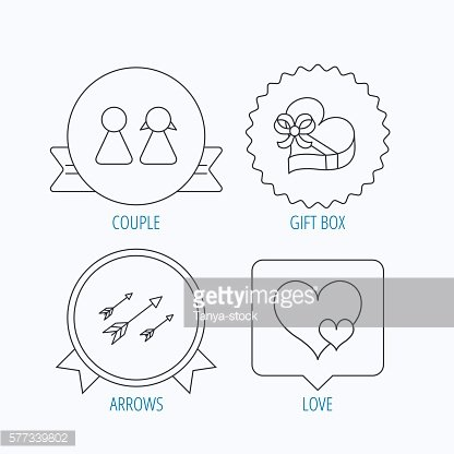 Love heart, gift box and couple icons.