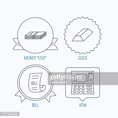 ATM, cash money and bill icons.