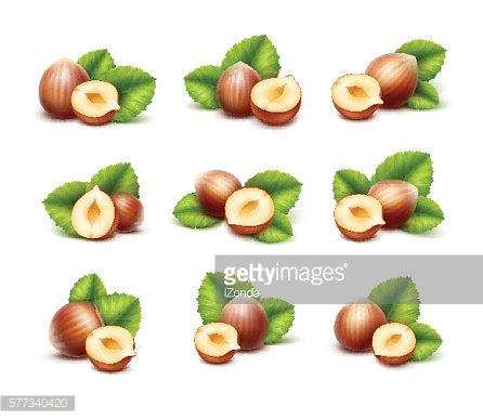 Full and Half Peeled Unpeeled Realistic Hazelnuts with Leaves