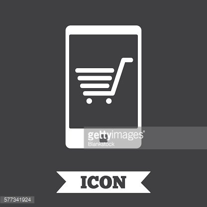 Smartphone with shopping cart sign icon.