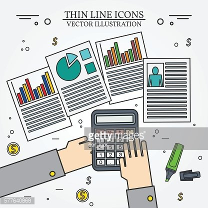 Accounting icon thin line for web and mobile