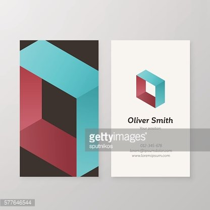 Business card isometric logo letter O vector template.