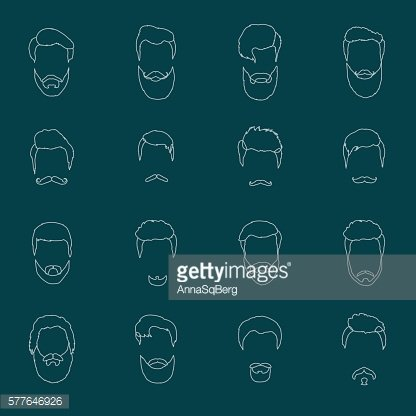 Mans hair set of beards and mustaches vector line. Hipster