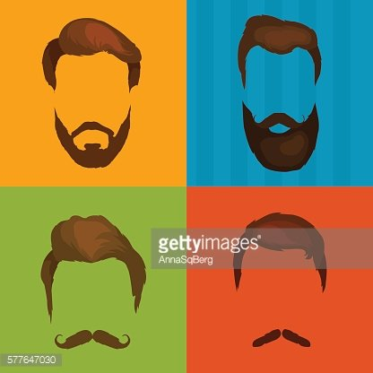 Men cartoon hairstyles with beards and mustache background. Vector illustration