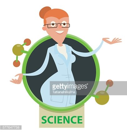 Round frame, woman scientist with red hair wearing glasses