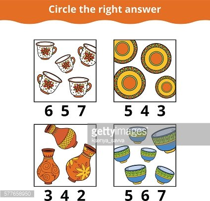 Counting Game for Children. Education game about dishes