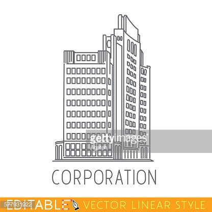 Corporation. Building of big company. Commerce architecture. Editable graphic in