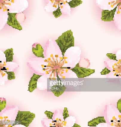 Seamless Pattern with Cherry Flowers, Repeating Romantic Backdro